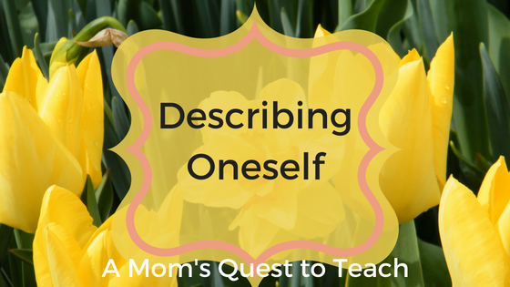 Text: Describing Oneself and photo of daffodils
