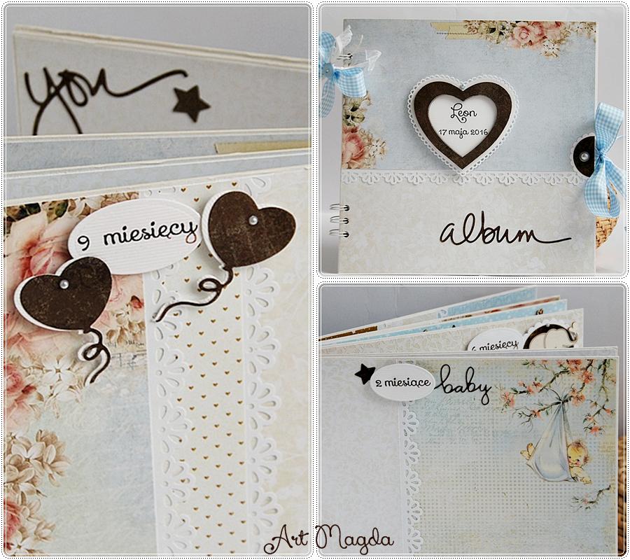 album handmade, ArtMagda, ręcznie robiony, na roczek dziecka, prezent,