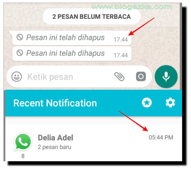 Pesan masuk WhatsApp yang di hapus pengirim bisa di lihat dan di baca lewat aplikasi recent notification