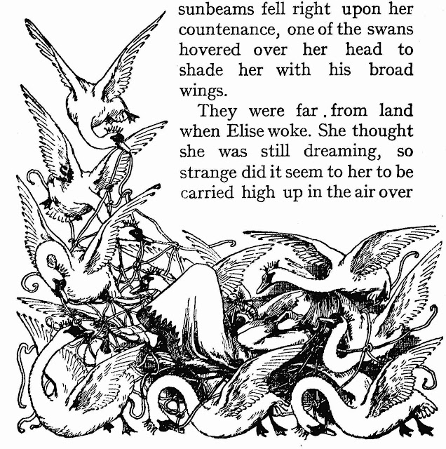 an Ellen Stratton illustration of Elise carried by geese
