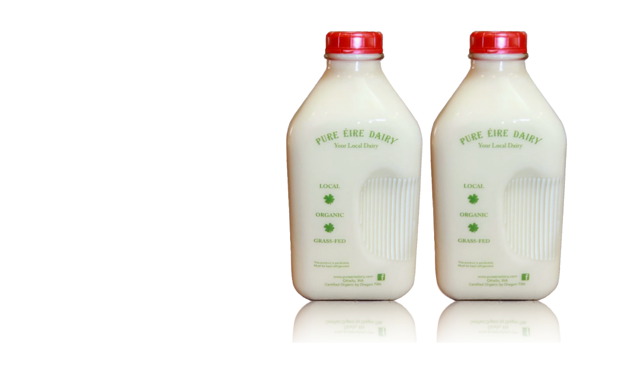 Glass Bottles of Pure Eire Dairy Farm Fresh Milk