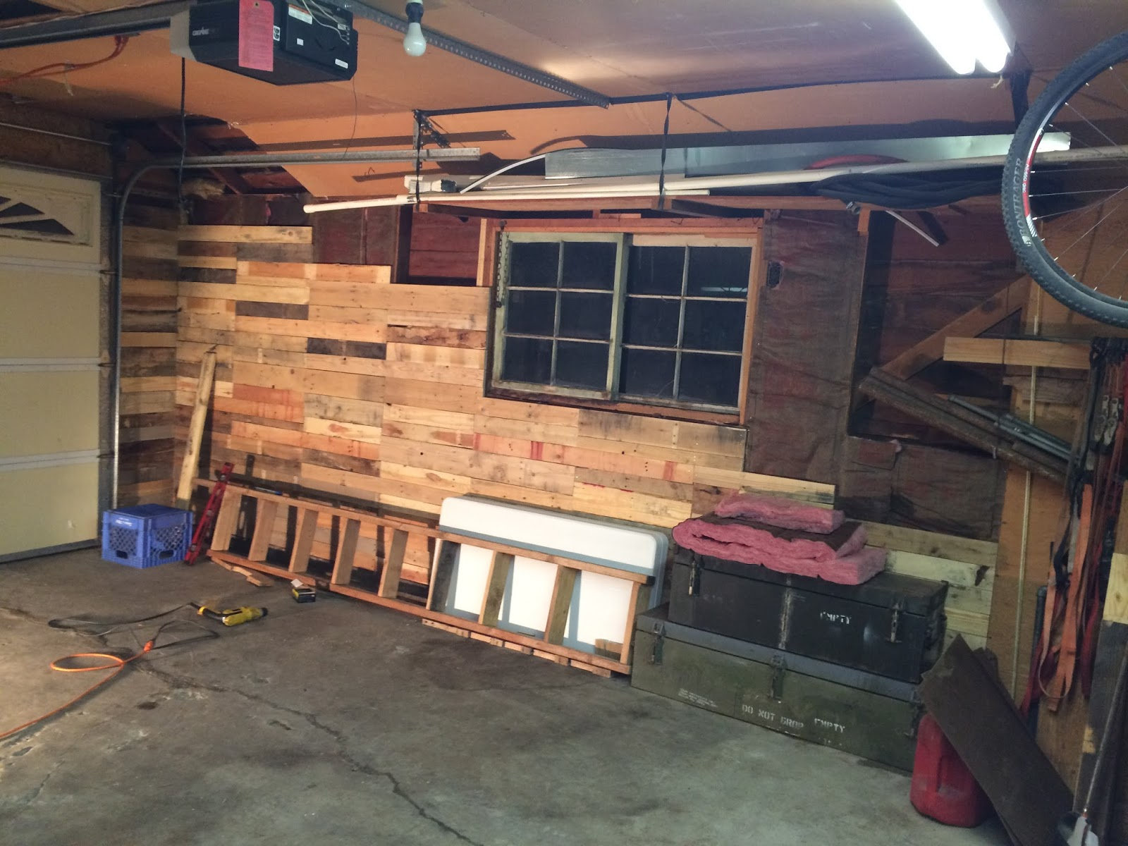Carson's Blog: Garage Pallet Wood Wall Build (in progress)