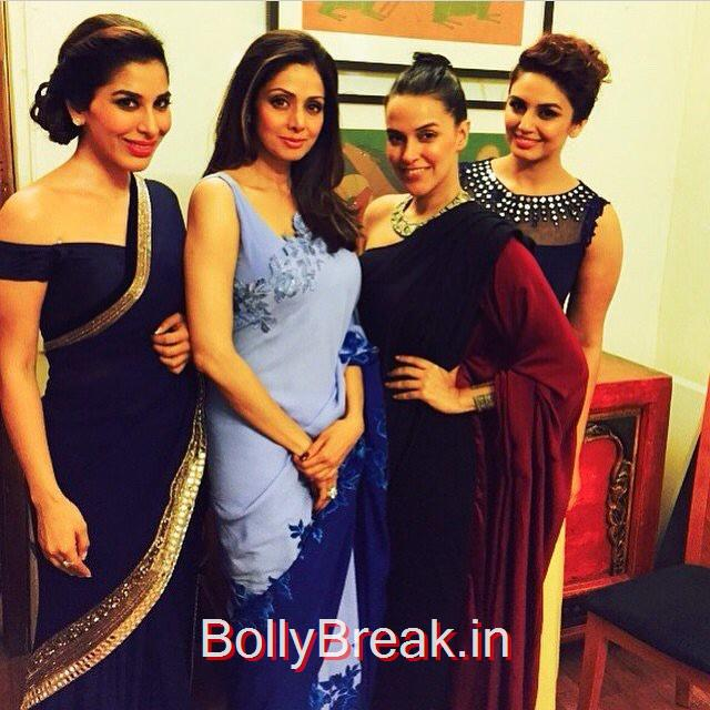 sridevi , fan girls @sophiechoudry @iamhumaq n me... all for the love of @manishmalhotra05 lakme fashion week ,, Sridevi, Kajol, Deepika, Neha at Manish Malhotra's show at LFW 2015