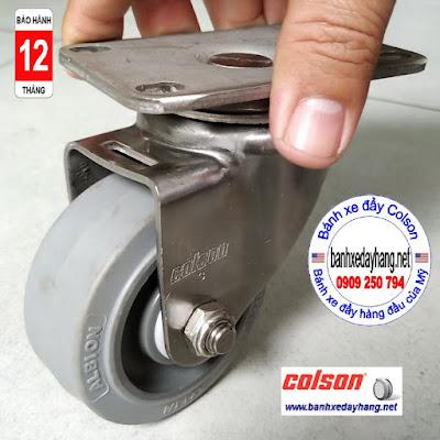 Bánh xe cao su chuyển hướng càng inox 304 Colson 3inch | 2-3356SS-444 www.banhxeday.xyz