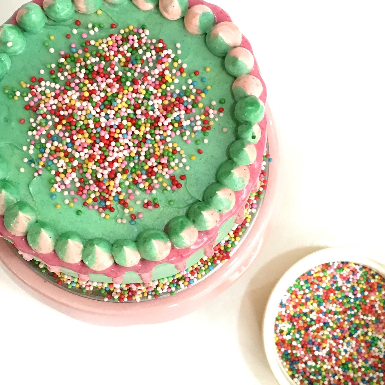 Rainbow Sprinkles Drip Cake Sherbakes