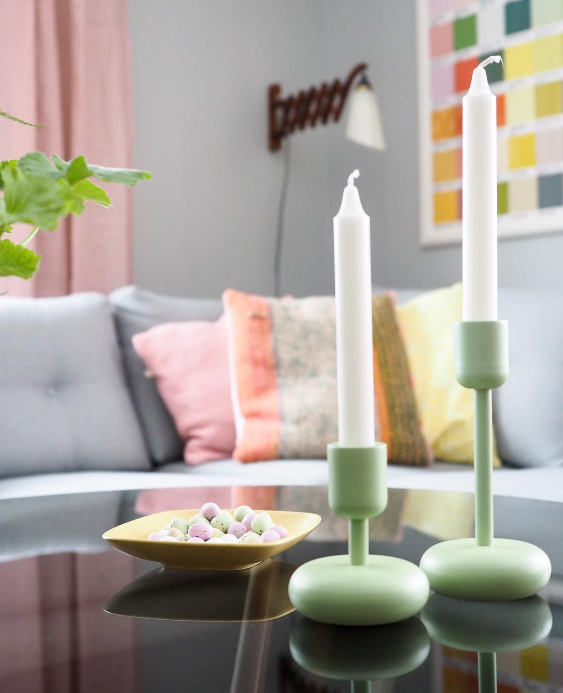Iittala vihreä Nappula kynttilänjalka