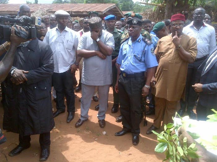 Photos: Governor Ugwuanyi Weeps During Inspection Of Damages By Fulani Herdsmen Terrorirsts