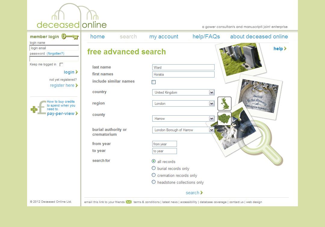 How To Find Your Ancestors in the Deceased Online Database