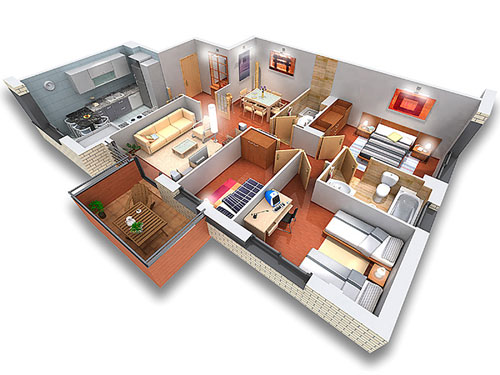 Escalera al cielo dise o 2d y 3d for Planos de casas pequenas en 3d