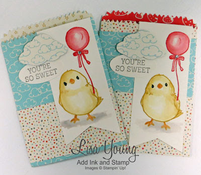 Stampin' Up! Honeycomb Happiness stamp set. Mini Treat bags. Lisa Young, Add Ink and Stamp