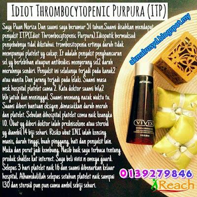 Tingkatkan Platlet Dalam Darah  Pesakit Idiopathic Thrombocytopenic Purpura (ITP) Dengan Suplemen