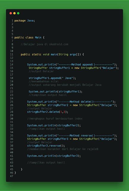 Salah satu alternatif lain untuk mengolah data atau nilai karakter  Belajar Mengenal Method StringBuffer pada Program Java