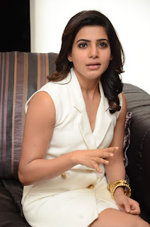 Samantha in lovely White Short Skirt and Top for 24 Movie Promotion