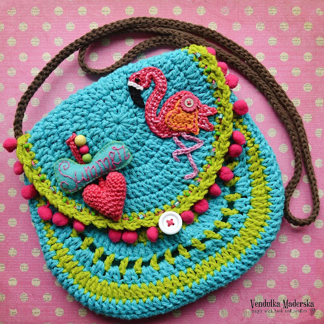 Crochet Flamingo Purse - pattern by Vendulkam
