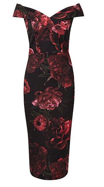 black and red bardot style dress