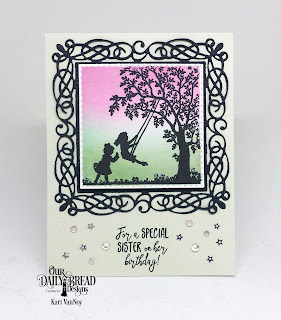 Our Daily Bread Designs Stamp Set: Sister In Christ, Custom Dies:Flourishy Frame, Paper Collection: Pastel
