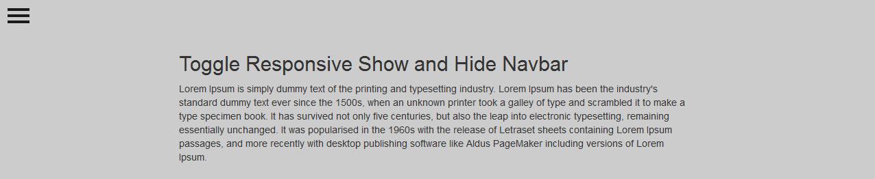 Jquery Navigation Menu: Toggle Responsive Show and Hide Navbar