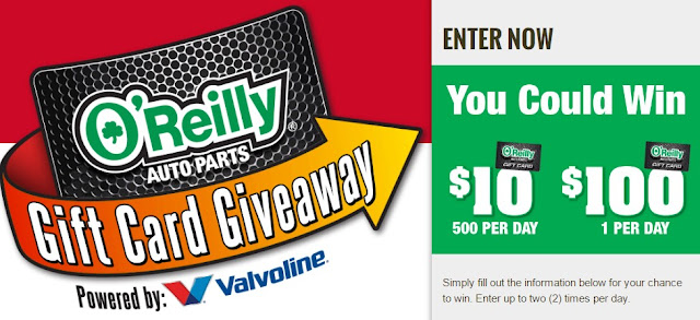 O'Reilly Auto Parts wants you to enter every day for the chance to instantly win a $10 gift card or even a $100 gift card for auto parts!