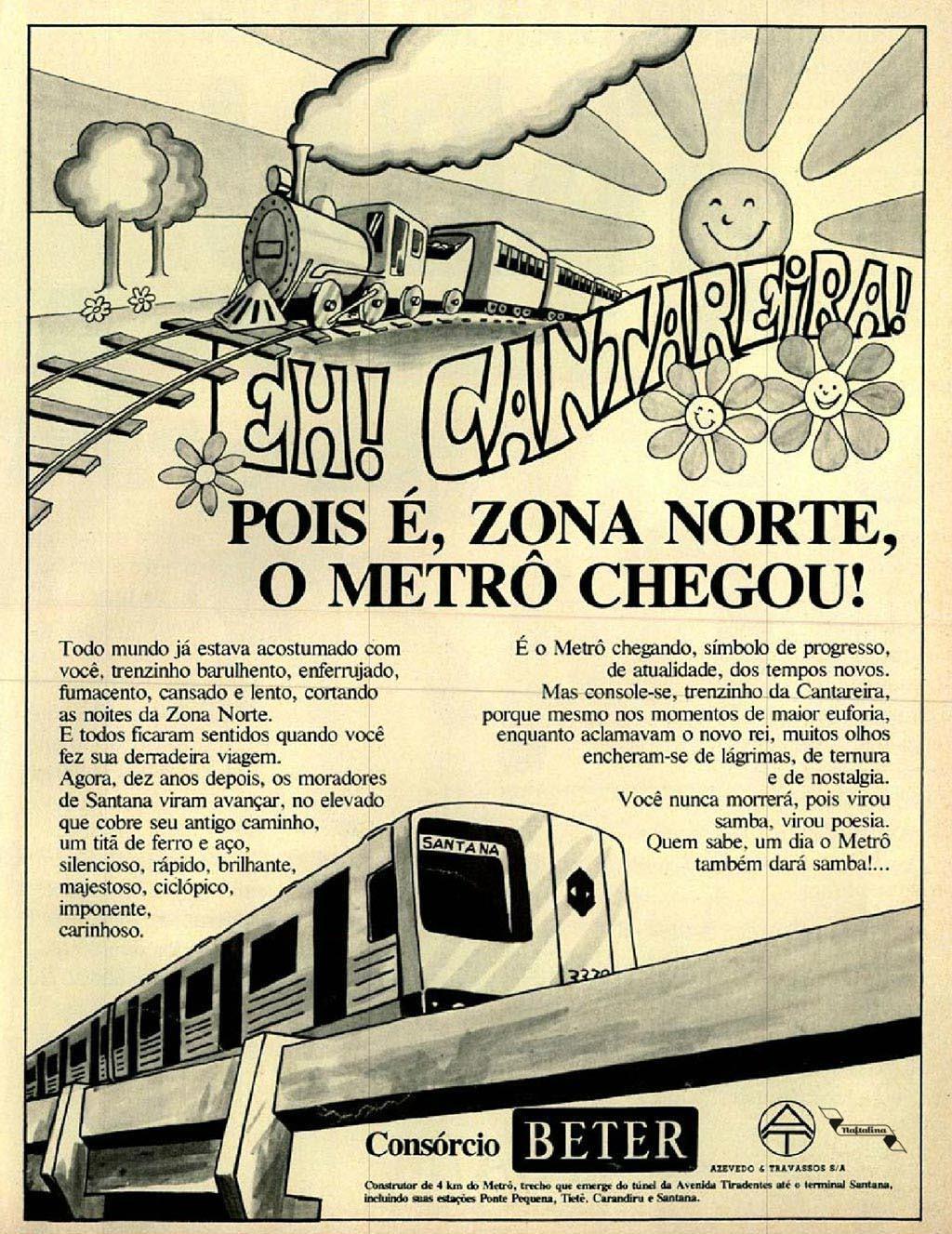 Campanha que promovia a chegada do metrô na Zona Norte de São Paulo nos anos 70