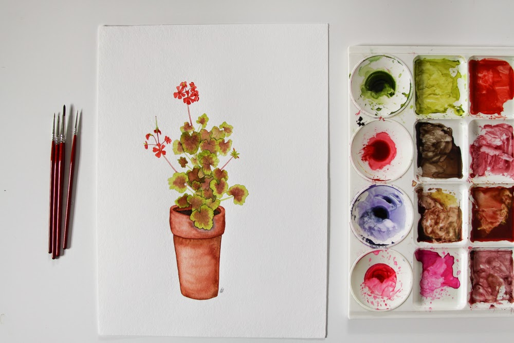 watercolor, painting, paint palette, geraniums, geranium painting, Anne Butera, My Giant Strawberry