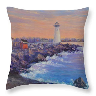 Coastal Home Decor Pillow with sunset and Lighhouse