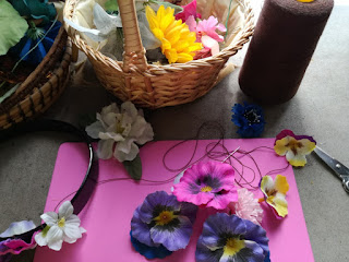 prepare flowers for headband, craftrebella