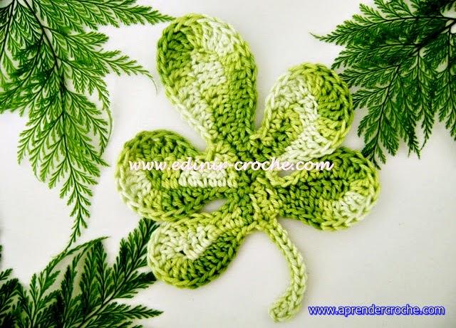 folhas em croche aprender croche com Edinir Croche passo a passo iniciantes