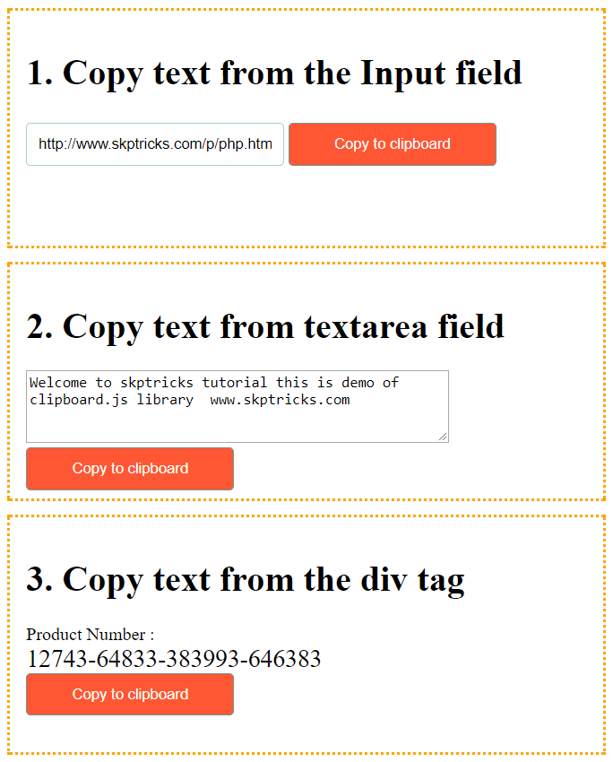 Copy To Clipboard Using Jquery Plugin With Examples | SKPTRICKS