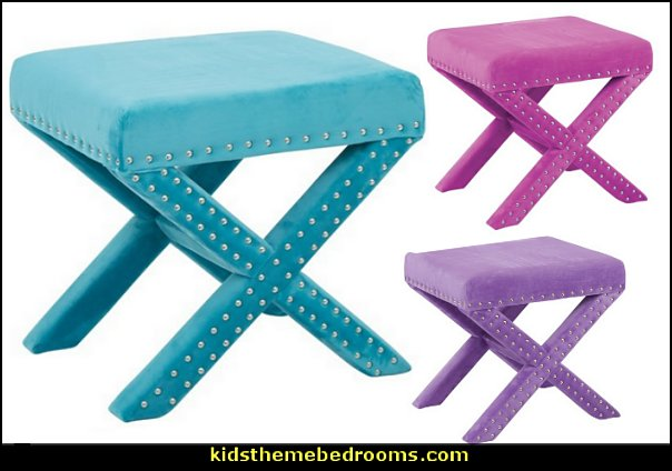 Nail head Velvet Ottomans   furniture  fun and funky - cute and colorful - chic and trendy decorating ideas - unique decor - girls bedroom decor - colorful decor - decorating with color - color inspiration decorating ideas - colorful bedrooms - colorful furniture - colorful bedding -