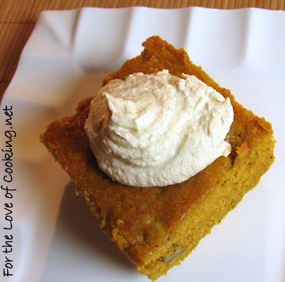 Pumpkin Spiced Cake with Cinnamon Whipped Cream