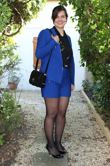 short et veste bleus Zara, sac sandro, blouse naf naf