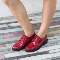 Pantofi dama Mavise rosii tip Oxford • modlet