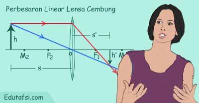 Cara menentukan perbesaran linear pada lensa cembung