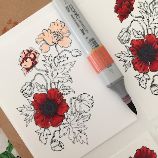 Poppy images by Power Poppy, showing stages of copic coloring
