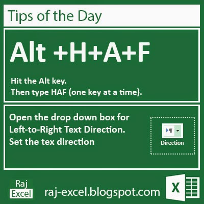 Excel 2013 Short Cut Keys: Alt + HAF