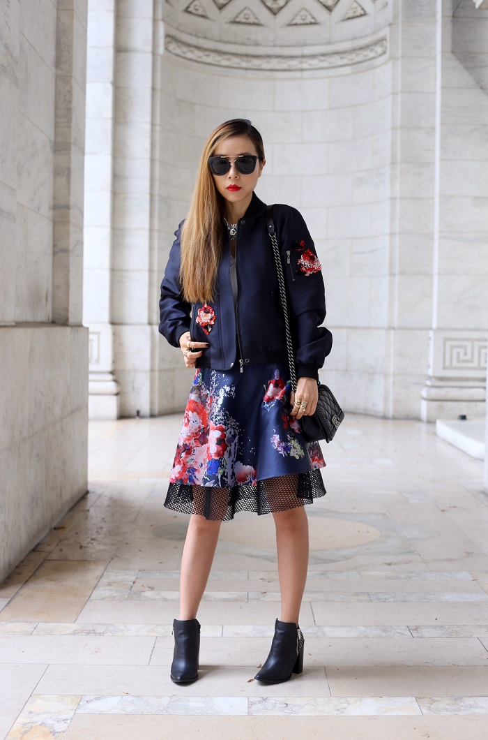 sachin and babi lola bomber jacket, sachin and babi floral skirt, boy chanel bag, prada sunglasses, ankle booties, nyc blogger, fashion blog, street style, fall fashion