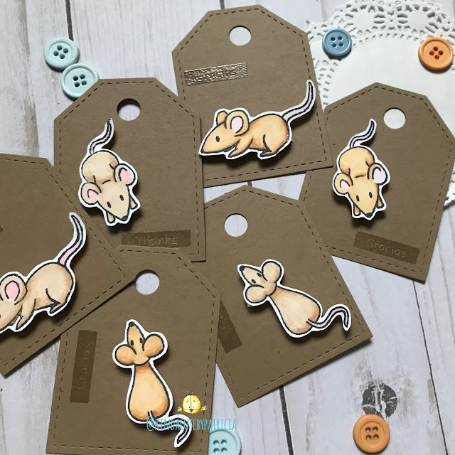 Thank you tags using mice stamp