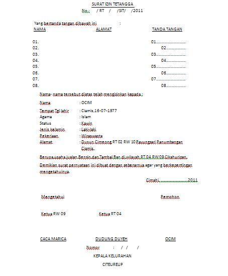 Kimhotnews Contoh Surat Izin Tetangga Untuk Situ