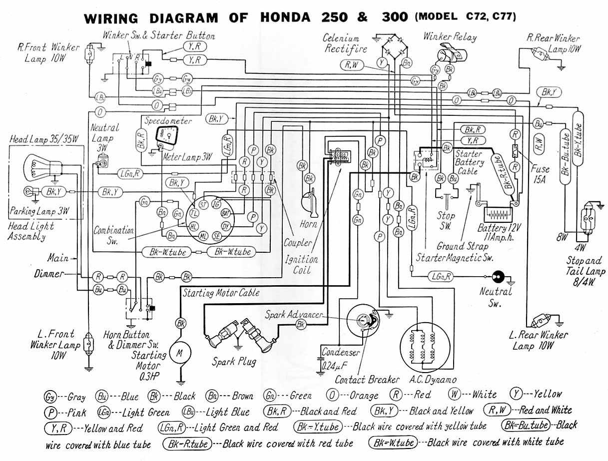 honda c72 and c77 motorcycle wiring diagram