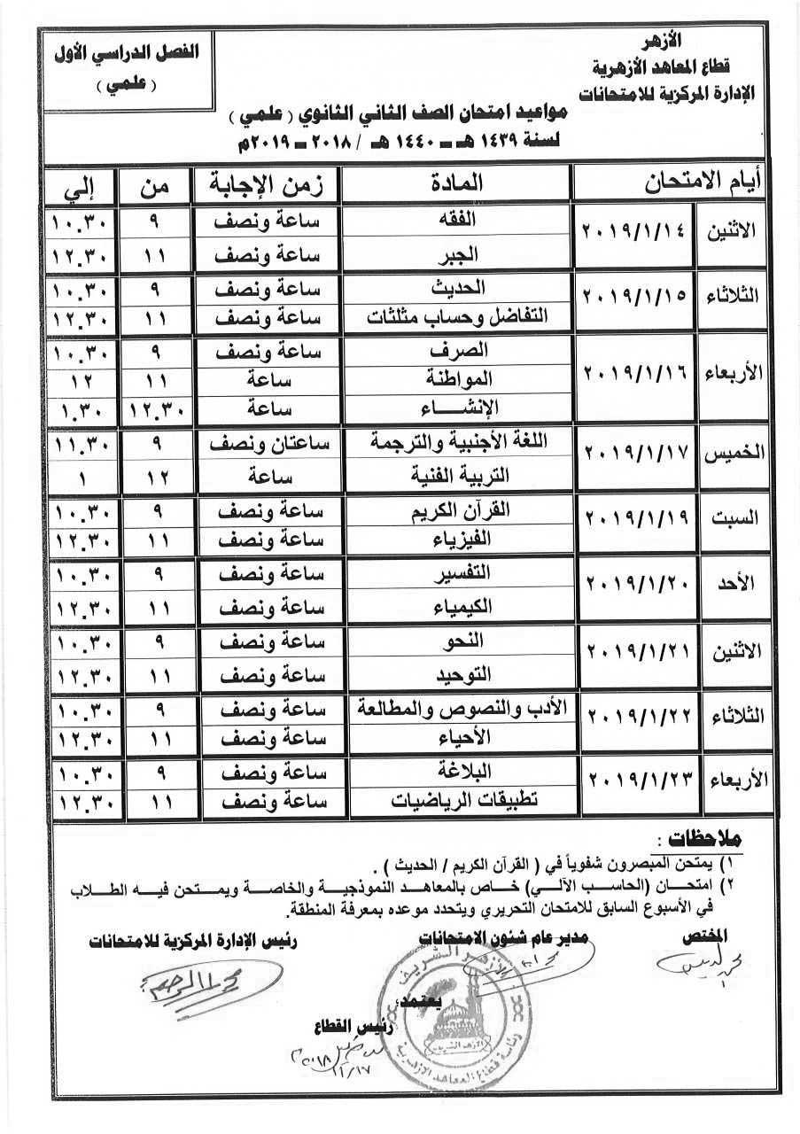 جدول إمتحانات الصف الثاني الثانوي الأزهري علمي الترم الأول 2019