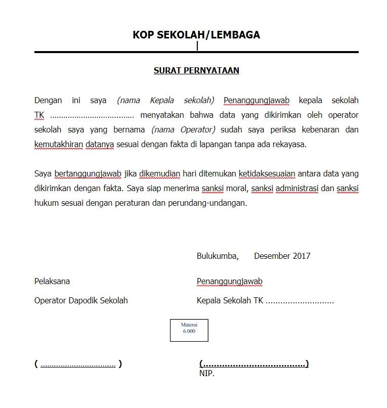 Pendidikan Jaman Sekarang Surat Pernyataan Kepala Sekolah