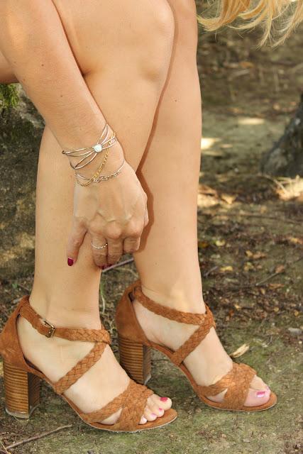robe comptoir des cotonniers sandales camel les petites bulles de ma vie