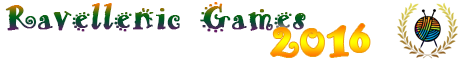 A masthead graphic for all Ravellenic Games participants to use in their communications about the Ravellenic Games. The words Ravellenic Games are in a novelty font in orange, green and purple. The year 2016 is in large yellow numerals. A ball of yarn with two crossed knitting needles is surrounded by a stylised laurel wreath.