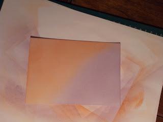 Purple and orange coloured card
