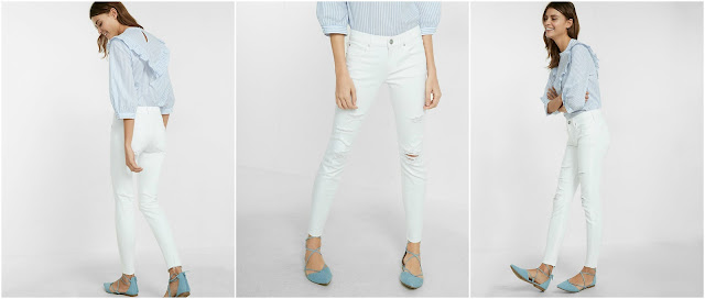 Express Mid Rise Distressed Cropped Jean Leggings $48 (reg $80)