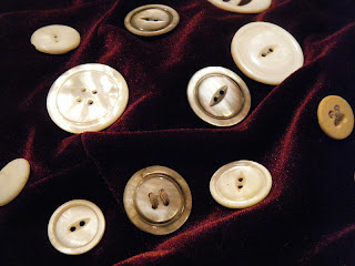 antique buttons - white