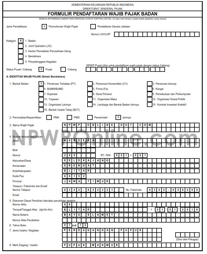 Cara Mengisi Kolom Identitas Wajib Pajak di Formulir NPWP Badan Perusahaan