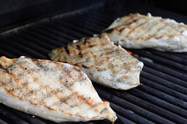 The pieces of chicken on the grill with grill marks.