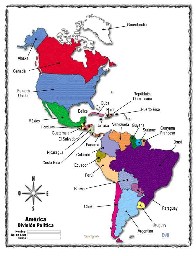 Geografía de América: Paises y banderas de América Latina