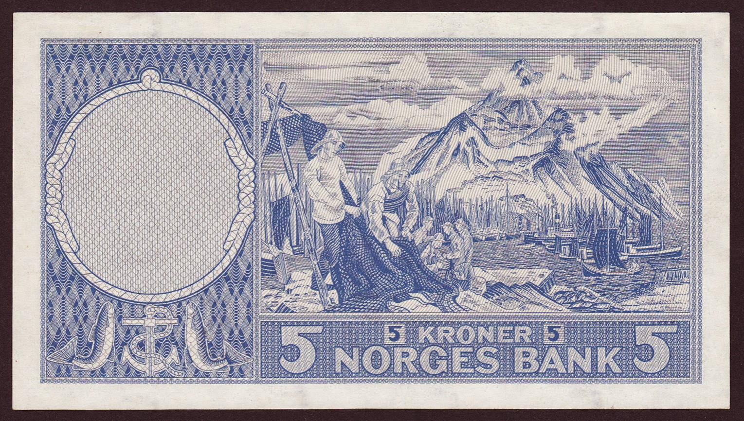 Norway Banknotes 5 Kroner note 1960 Fisheries scene from the Lofoten